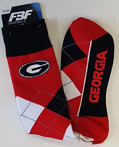 University Georgia Bulldogs (For Bare Feet NCAA Argyle Lineup Unisex Crew Dress Socks-One Size Fits Most-Georgia Bulldogs)