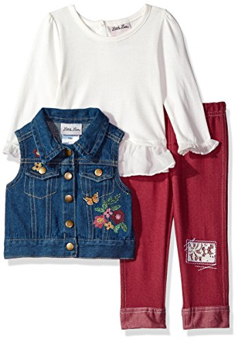 Little Lass Baby Girls' 3pc Embroidered Denim Vest Set, Ivory/Denim, 12M (Baby Girl Embroidered Denim)