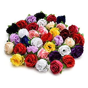 Fake flower heads in bulk wholesale for crafts Artificial flowers silk flower small tea roses bud handmade flowers diy party Birthday Decor head garlands wedding home decoration 30pcs/lot 3cm Colorful 9