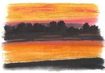 La puesta de sol sobre el lago de dibujo Pastel + montaje: Amazon.es: Hogar