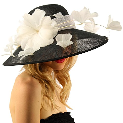 Demure Dome Sinamy Butterfly Floral Feathers Derby Floppy Dress Wide Hat Black/White by SK Hat shop