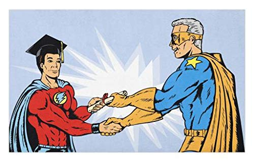 Lunarable Graduation Doormat, Superhero Graduating Cartoon Style Comic Costume Diploma Heroism Proud Teacher, Decorative Polyester Floor Mat with Non-Skid Backing, 30 W X 18 L Inches, -