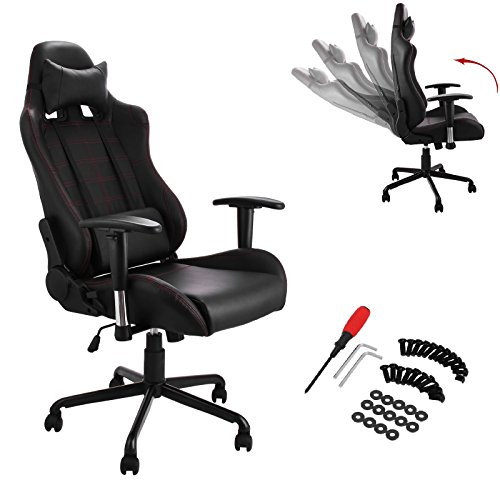Superland Black Racing Chair 360 Degree Swivel Office Chair Executive PU Leather High Back Race Computer Game Adjustable (Black SJ-05 Gaming Chair)