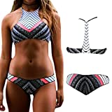 Sexy Women Floral Printing Bandeau Bikini Set Cheeky Bottom Swimwear