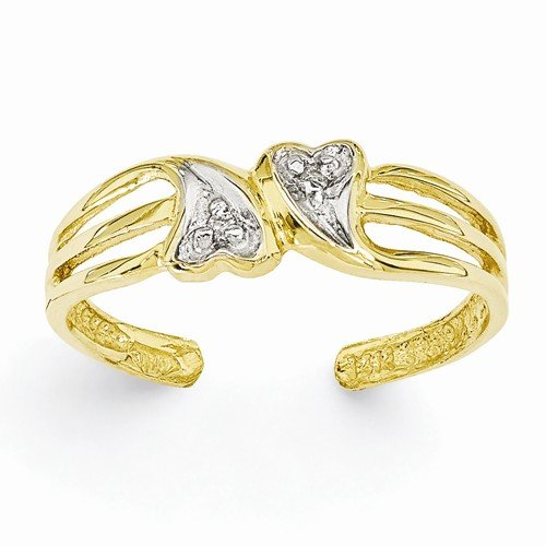 0.02 Ct Heart (Solid 14k Yellow Gold Double Love Heart .02ct Diamond Adjustable One Size Fits All Toe Ring (1 to 5)