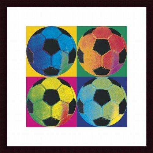 Printfinders Ball Four-Soccer by Wild Apple Custom Wood Framed Art Print by Printfinders