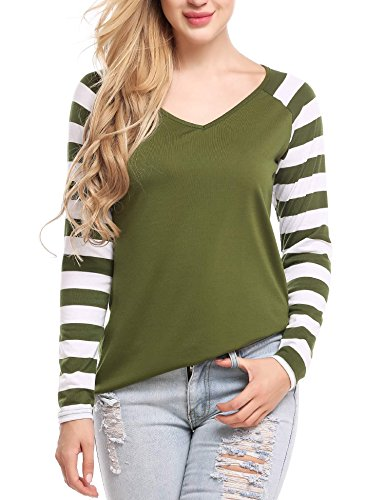 Zeagoo Women's V Neck Long Sleeves Cotton Stripe T-Shirt Baseball Blouse Army Green M (Jersey Long Sleeve Blouse)