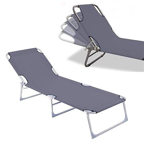 Froadp Plegables Tumbonas Sillas con Ajustable Respaldo para Jardín Casa Piscina Playa 188x56x27cm(Gris)