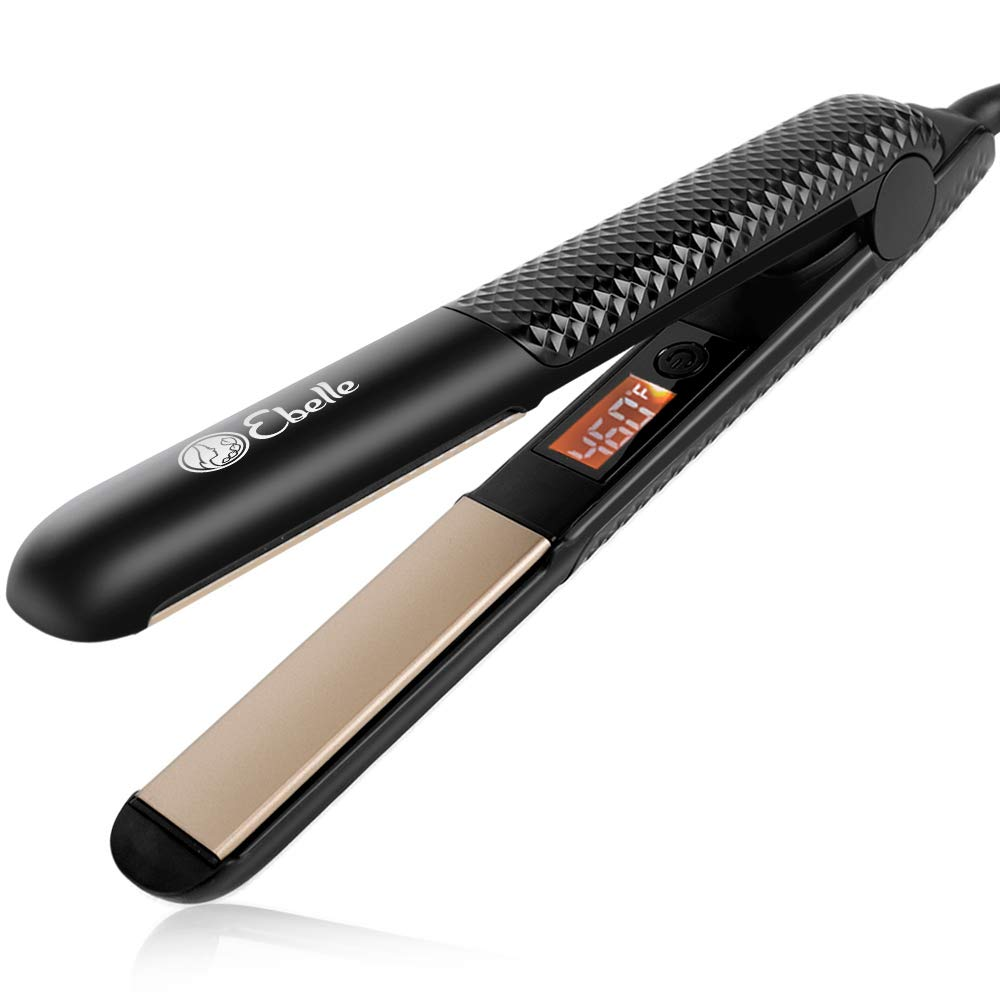 Hair Straightener,Flat Iron for Hair Styling 2 in 1 Tourmaline Ceramic Flat Iron for All Hair Types with adjustable Temperature 320 -460 ,Straightening Irons Dual Voltage, 1 Inch,black