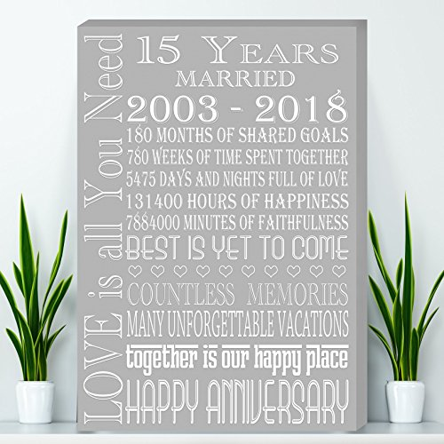 15 Years Anniversary Gift, Crystal Anniversary Gift Canvas - Wife Anniversary Gift, Parents Anniversary Gift, Canvas ()