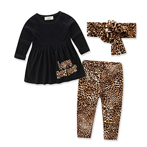 Newborn Baby Girls Long Sleeve Happy New Year Tops Leopard Leggings Long Pants With Headband 3Pcs Outfit (tag: 70/0-9 Months, Black)
