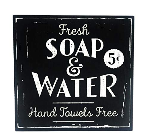 Vintage Bathroom Decor, Fresh Soap & Water Decorative Wood Box Sign, Large, 10x10 Inch, Black