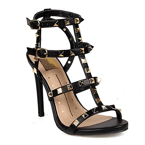 1/2 Inch Sexy Strappy Shoes (ShoBeautiful Women's Pump Sandals Gladiator High Heel Strappy Peep Toe Ankle Strap Dress Stylish Fashion Cage Summer Shoes KD01 Black 9)