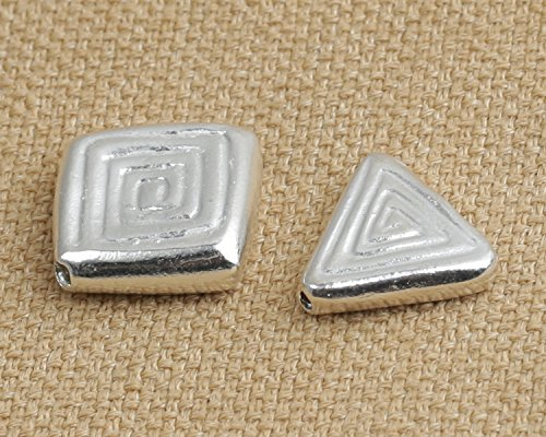 (Luoyi Handmade 999 Silver Beads, Triangle/ Square with Spiral Pattern (S013G) (B))