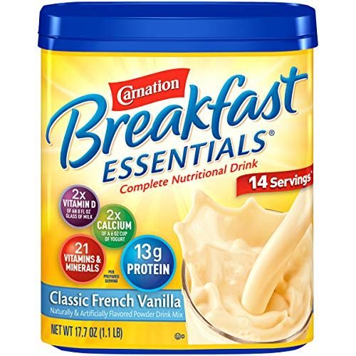 Carnation Breakfast Essentials Vanilla Powder, 17.7 Ounce Canister, 6 count