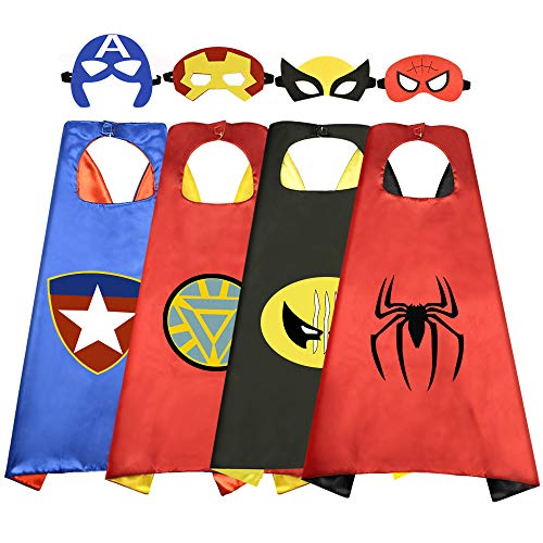 Roko Toys for 3-10 Year Old Boys, Superhero Capes for Kids 3-10 Year Old Boy Gifts Boys Cartoon Dress up Costumes Party Supplies Stocking Stuffer 4 Pack RKUSPF04