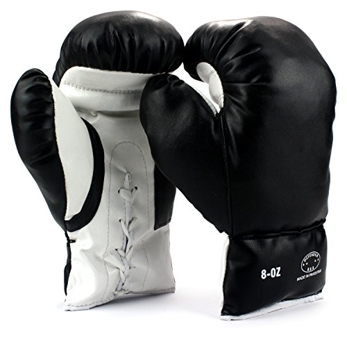 [Pair of 8 Oz Children Kids Youth Lace Up Training Boxing Gloves w/ Soft Padding, Durable Construction] (Joe Child Costumes Gloves)