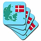 3dRose The Map and Flag of Denmark with