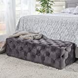Great Deal Furniture 299848 Provence Grey Tufted New Velvet Ottoman Rectangle
