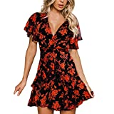 Euone Dress Clearance, Women Bohemian Dress Clearance Floral Print Bowknot Ruffles Petal Sleeve Sundress Holiday Deap V-neck Summer Beach Party Mini Dresses Woman Sexy Casual Short Sleeve Dress