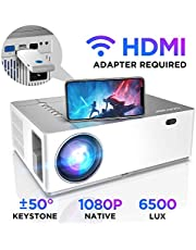 """Proyector Full HD 1080p Nativo 6500 Lúmenes BOMAKER, 4D Corrección Digital de ± 50 °, Zoom de -50%, Contraste 8000:1, Pantalla de 300"""", Cine en casa/Presentación Comercial, Parrot I"""
