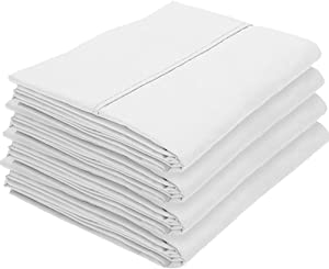 Bare Home 4 Kids Pillowcases - Premium 1800 Ultra-Soft Collection - Bulk Pack - Double Brushed - Hypoallergenic - Wrinkle Resistant - Easy Care (Standard - 4 Pack, White)