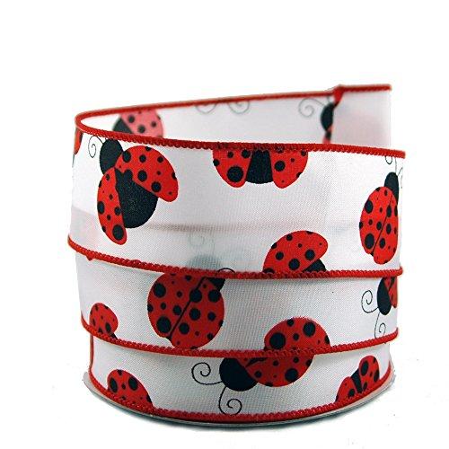 Ladybug Gift Wrap - Ladybug White Satin Wired Ribbon #9-1.5in X 10yds