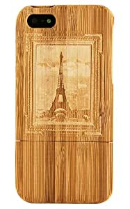 Boho Tronics TM Genuine Bamboo Master Artist Eiffel Tower Picture Paris Case Cover Hard Natural Smooth Wood Skin - Compatible With iPhone 5