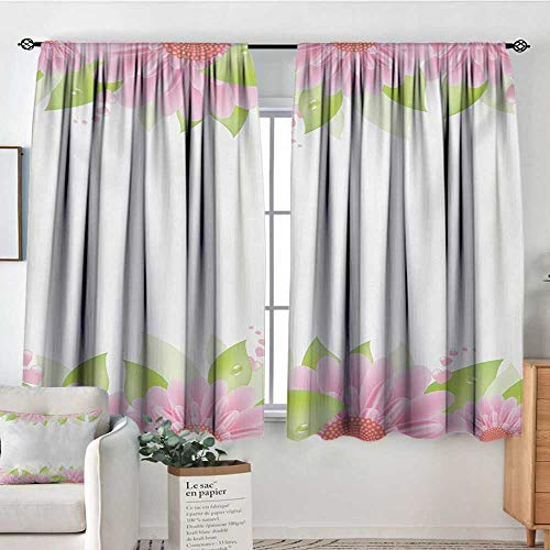 Mozenou Pink and White Window Curtain Fabric Botanical Nature Inspired Frame Borders with Fresh Gerbera with Green Leaves Door Curtain Blackout 55