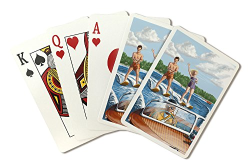 Water Skiing and Wooden Boat (Hill Background) (Playing Card Deck - 52 Card Poker Size with Jokers)