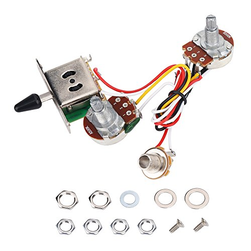 Guitar Wiring Harness Kit, 3 Way Toggle Switch 500K with 0.62'' Base for Electric Guitar Parts