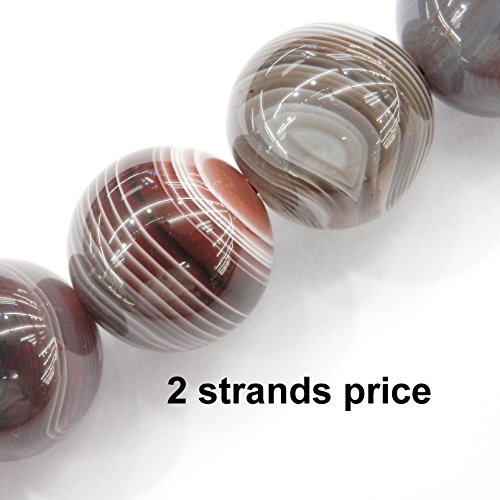 Precious gemstone beads for jewelry making, 100% natural AAA grade, sold per bag 2 strands inside (Botswana Agate, 10mm) - Natural Agate 100%