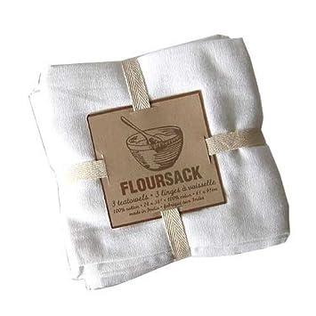 Beautiful Nowdesigns Cotton Floursack Tea Towels White, Set Of 3