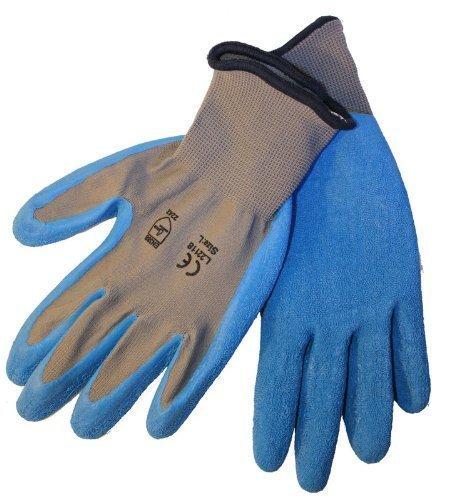 Azusa Safety Latex Coated Work Gloves- Natural Gray 13 Gauge /Nylon, Blue Latex Palm, Medium, 120 Pairs