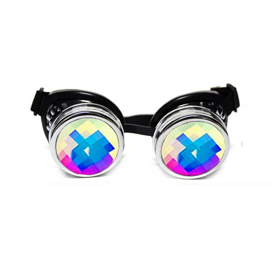 GloFX Chrome Padded Kaleidoscope Goggles Bug Eye Lens - Silver Frame - Rave