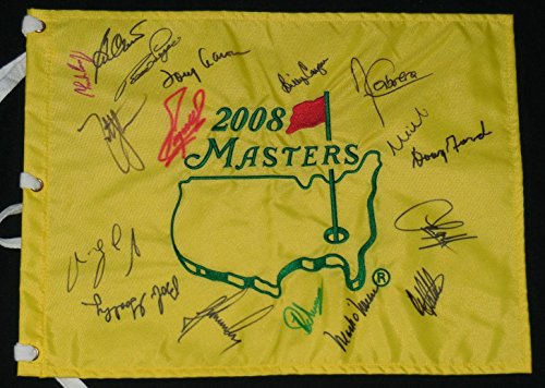 2008 MASTERS GOLF FLAG SIGNED BY 17 CHAMPIONS - Coody, Goalby, Singh, Langer, Autographed Golf Pin Flags