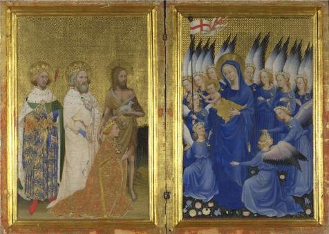 Polyster Canvas ,the Best Price Art Decorative Prints On Canvas Of Oil Painting 'English Or French - The Wilton Diptych (1),about 1395-9', 12x17 Inch / 30x43 Cm Is Best For Kids Room Decoration And Home Decoration And Gifts