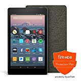 All-New Fire HD 8 Protection Bundle with Fire HD 8 Tablet (16 GB, Black), Amazon Cover (Charcoal Black) and Protection Plan (1-Year)