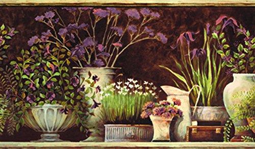 Potted Floral Wallpaper Border - Chesapeake PUR44642B Frema Brown Floral Still Life Wallpaper Border