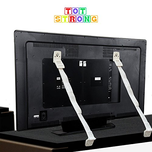 Price comparison product image Tot Strong Anti-Tip Furniture and Flat Screen TV Safety Anchor Straps Heavy Duty 2 pack