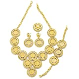 24K Gold Plated Turkey Coins Arab Gifts Turks Africa Party Bridal Jewelry Sets (S181)