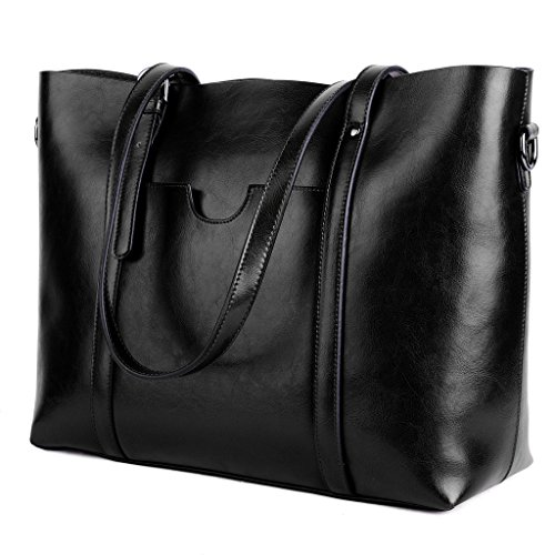 - YALUXE Women's Vintage Style Soft Leather Work Tote Large Shoulder Bag Black 2