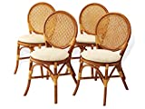 Rattan Wicker Furniture Set of 4 Denver Dining Armless Accent Side Chair Handmade Colonial Review