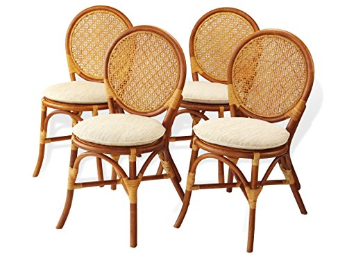 Rattan Wicker Furniture Set of 4 Denver Dining Armless Accent Side Chair Handmade Colonial -