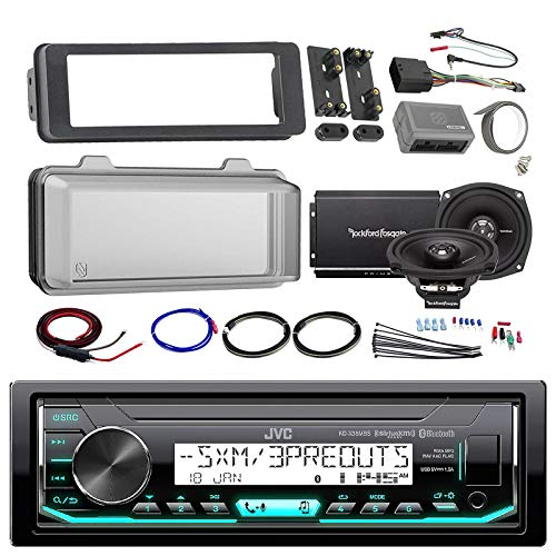 Harley Audio Package Of JVC KDX33MBS Marine Radio Stereo Receiver Bundle Combo With Dash Trim Kit + Radio Cover + 2x 5.25