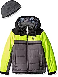 London Fog Little Boys\' Toddler Classic Heavyweight Color Block Bubble Jacket with Hat, Yellow, 4T