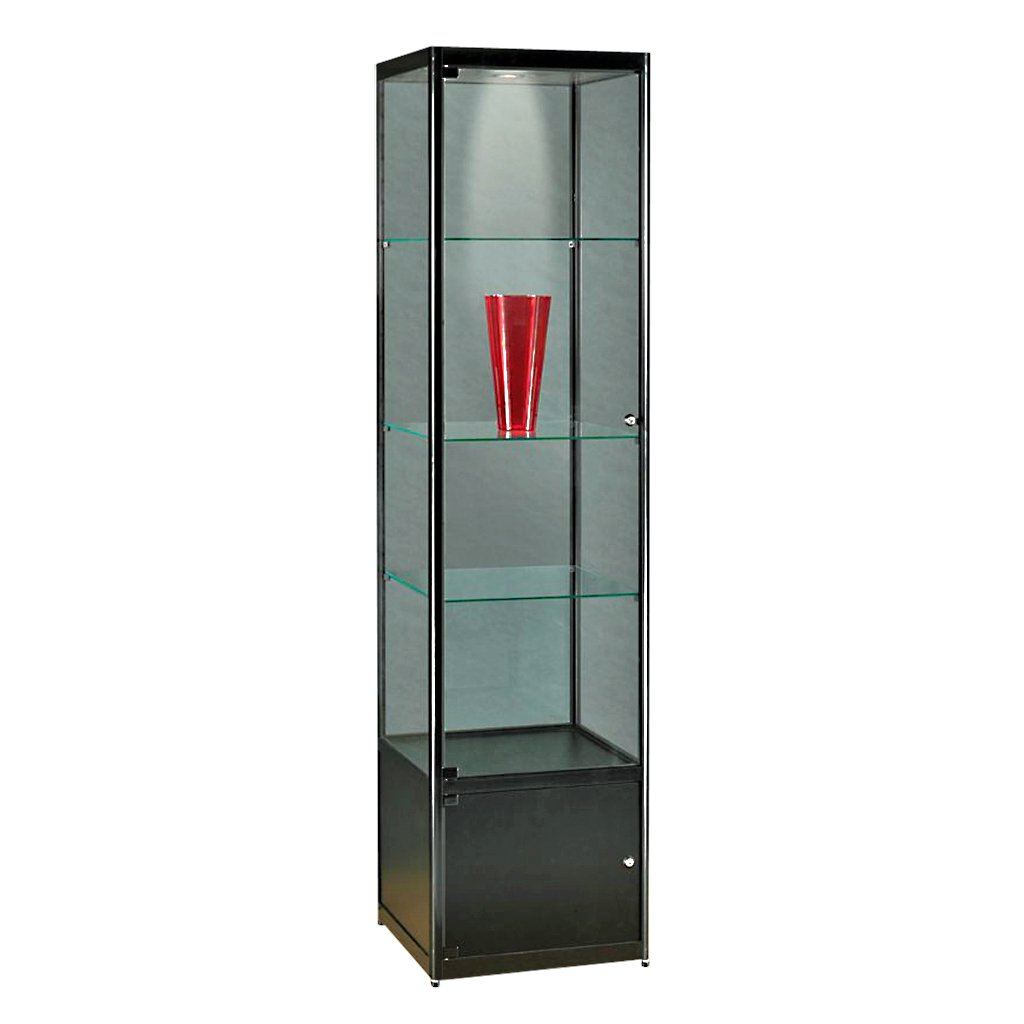 vitrine glasvitrine standvitrine sammlervitrine basic 500 alu schwarz glas beleuchtet. Black Bedroom Furniture Sets. Home Design Ideas