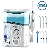 Nicefeel Water Flosser - Water Flossing Dental Oral Irrigator with 10 Pressures, Supports 150 Seconds Cleaning, Dental Flosser with 7 Tips for Family