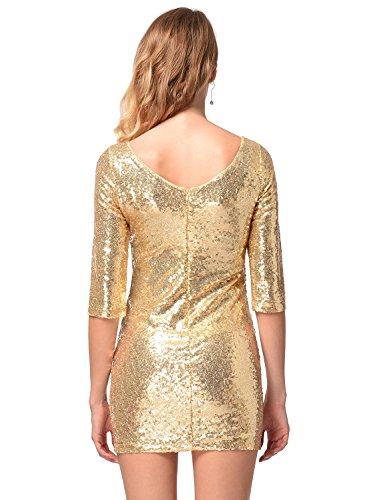 de V clubwear la las Vestido mitad en mujeres Oro profundo de lentejuelas espalda con manga de Ruiyige la brillantes vestido gOzzYqWd64