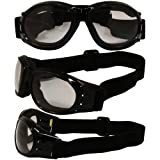 Birdz Eyewear Eagle Motorcycle Goggles (Black Frame/Clear Lens)